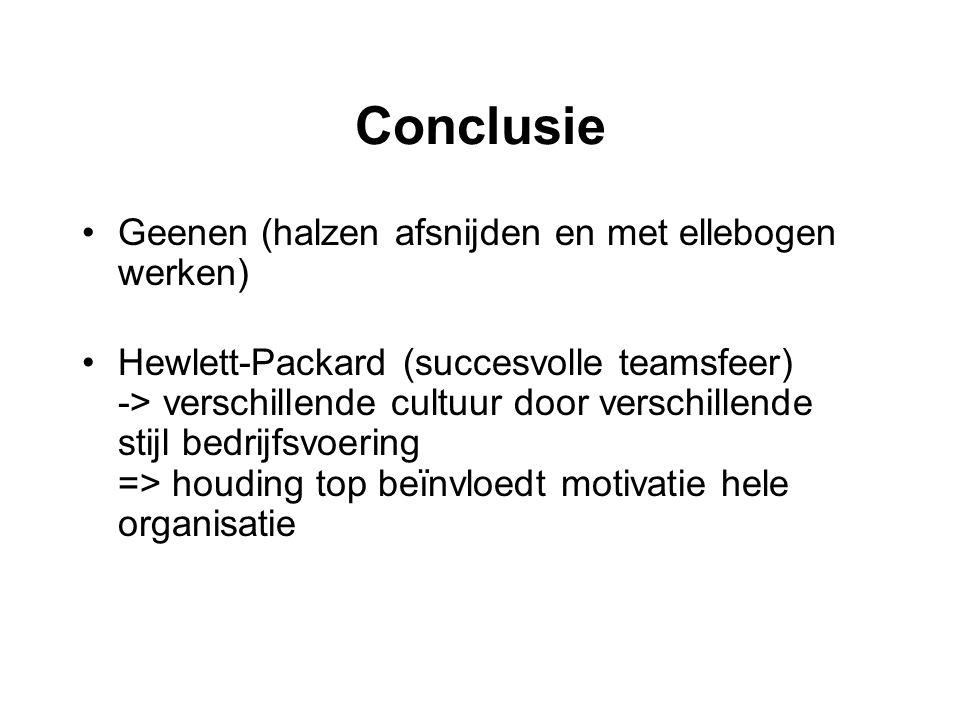 Conclusie Geenen (halzen afsnijden en met ellebogen werken) Hewlett-Packard (succesvolle teamsfeer) -> verschillende cultuur door verschillende stijl