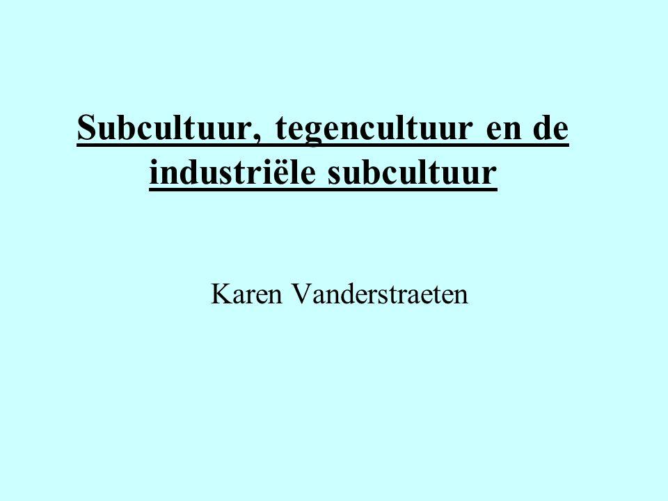 Subcultuur, tegencultuur en de industriële subcultuur Karen Vanderstraeten