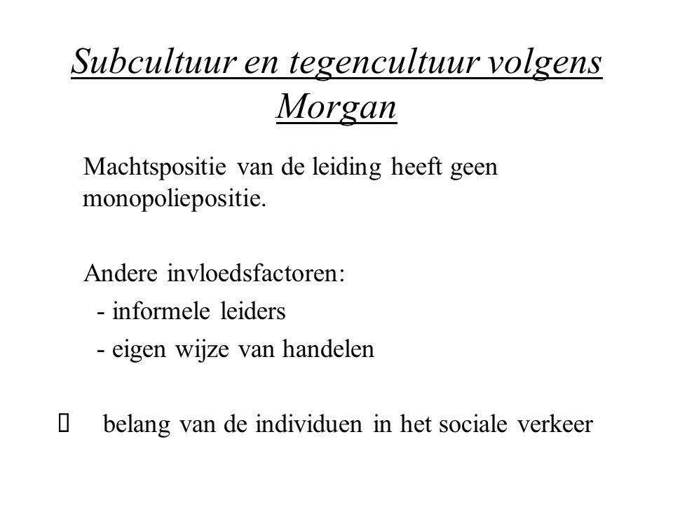 Subcultuur en tegencultuur volgens Morgan Machtspositie van de leiding heeft geen monopoliepositie. Andere invloedsfactoren: - informele leiders - eig
