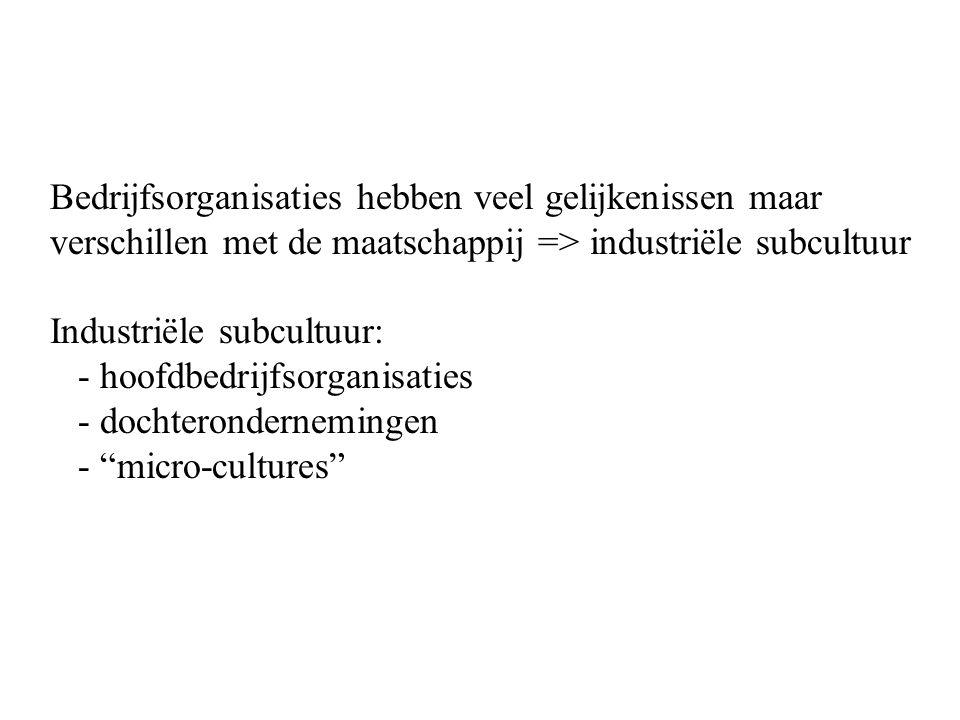 Bedrijfsorganisaties hebben veel gelijkenissen maar verschillen met de maatschappij => industriële subcultuur Industriële subcultuur: - hoofdbedrijfso