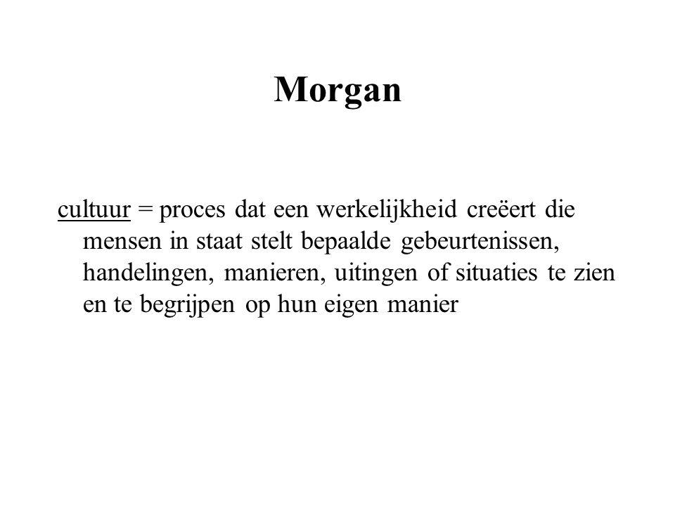 Morgan cultuur = proces dat een werkelijkheid creëert die mensen in staat stelt bepaalde gebeurtenissen, handelingen, manieren, uitingen of situaties