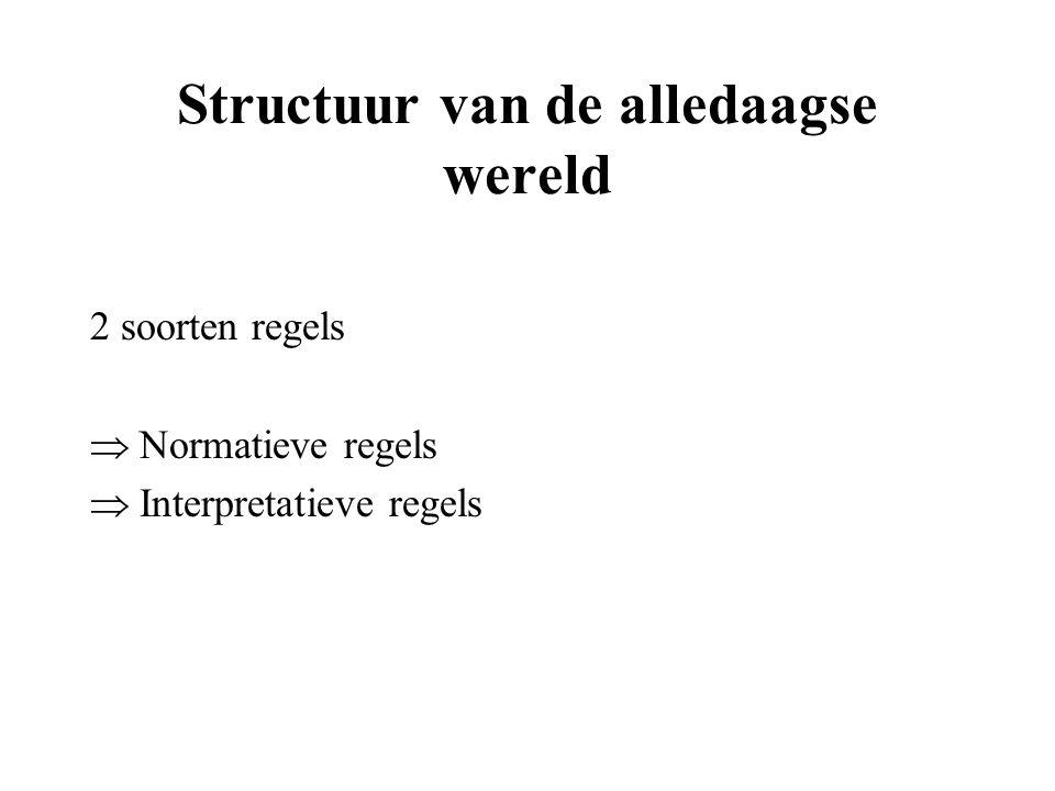 Structuur van de alledaagse wereld 2 soorten regels  Normatieve regels  Interpretatieve regels