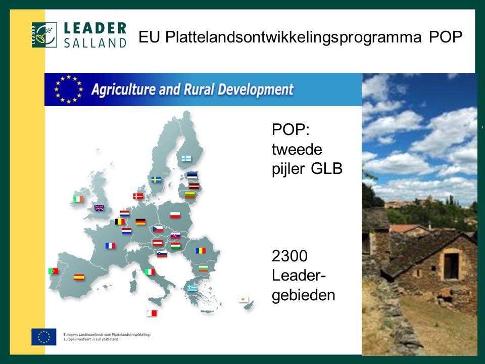EU Plattelandsontwikkelingsprogramma POP POP: tweede pijler GLB 2300 Leader- gebieden