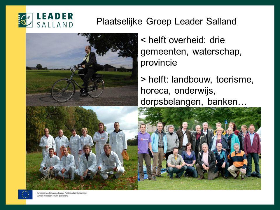 Plaatselijke Groep Leader Salland < helft overheid: drie gemeenten, waterschap, provincie > helft: landbouw, toerisme, horeca, onderwijs, dorpsbelange