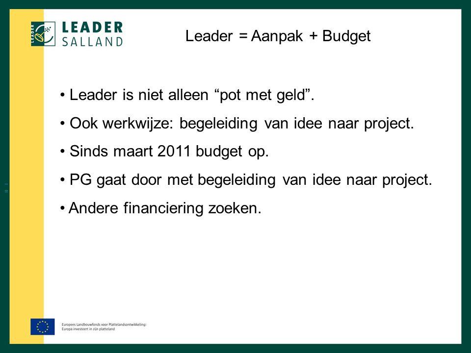 """Leader = Aanpak + Budget Leader is niet alleen """"pot met geld"""". Ook werkwijze: begeleiding van idee naar project. Sinds maart 2011 budget op. PG gaat d"""