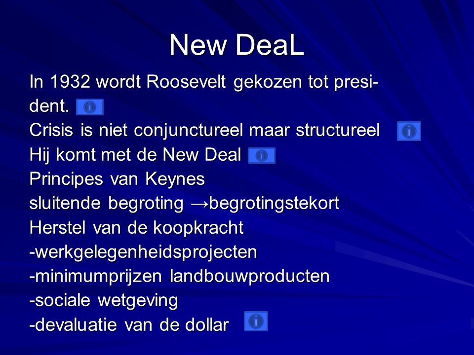 New DeaL In 1932 wordt Roosevelt gekozen tot presi- dent.
