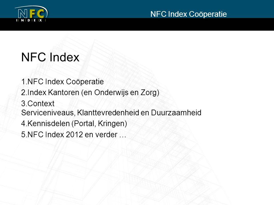 NFC Index: onafhankelijke Coöperatie Een samenwerkingsverband van leden met als centrale gedachte: brengen en halen: De gegevens van de leden komen/blijven beschikbaar voor de leden van de coöperatie (door toegang tot de database) Leden leren van elkaar in kringverband (kenniskringen) NFC Index Coöperatie