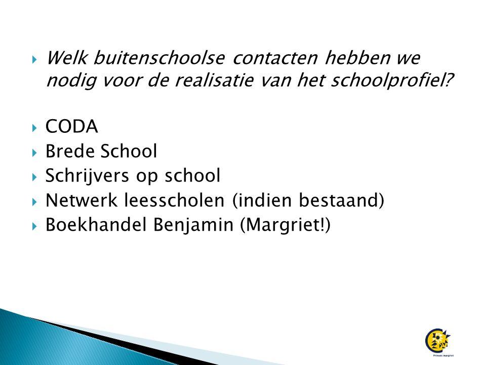  Welk buitenschoolse contacten hebben we nodig voor de realisatie van het schoolprofiel?  CODA  Brede School  Schrijvers op school  Netwerk leess