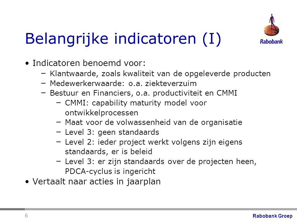 Rabobank Groep 6 Belangrijke indicatoren (I) Indicatoren benoemd voor: – Klantwaarde, zoals kwaliteit van de opgeleverde producten – Medewerkerwaarde: o.a.