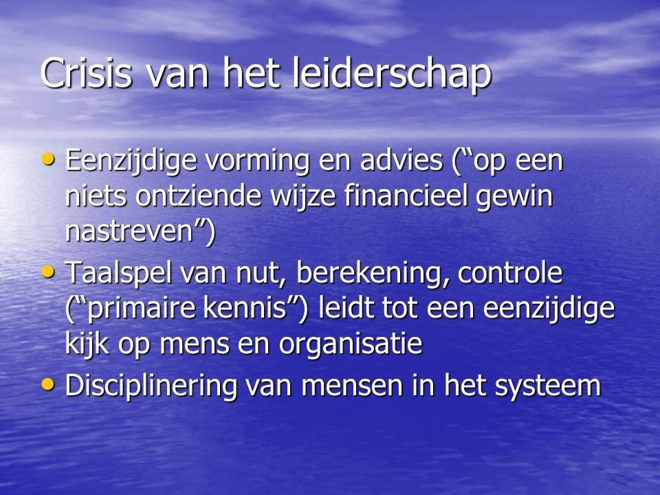 Crisis van het leiderschap Eenzijdige vorming en advies ( op een niets ontziende wijze financieel gewin nastreven ) Eenzijdige vorming en advies ( op een niets ontziende wijze financieel gewin nastreven ) Taalspel van nut, berekening, controle ( primaire kennis ) leidt tot een eenzijdige kijk op mens en organisatie Taalspel van nut, berekening, controle ( primaire kennis ) leidt tot een eenzijdige kijk op mens en organisatie Disciplinering van mensen in het systeem Disciplinering van mensen in het systeem