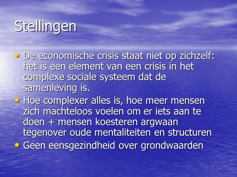 Stellingen De economische crisis staat niet op zichzelf: het is een element van een crisis in het complexe sociale systeem dat de samenleving is.