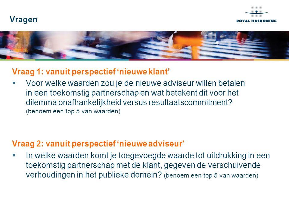 WORKSHOP 16-7-201410 In welke waarden komt je toegevoegde waarde tot uitdrukking in een toekomstig partnerschap met de klant, gegeven de verschuivende verhoudingen in het publieke domein.
