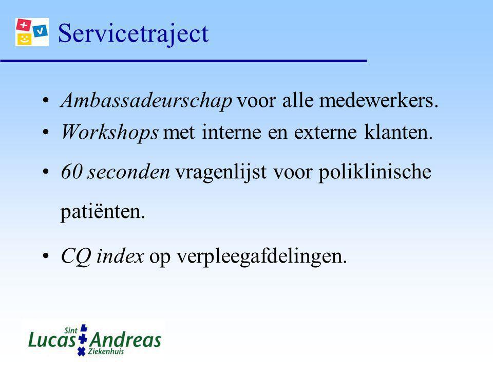 Servicetraject Ambassadeurschap voor alle medewerkers. Workshops met interne en externe klanten. 60 seconden vragenlijst voor poliklinische patiënten.