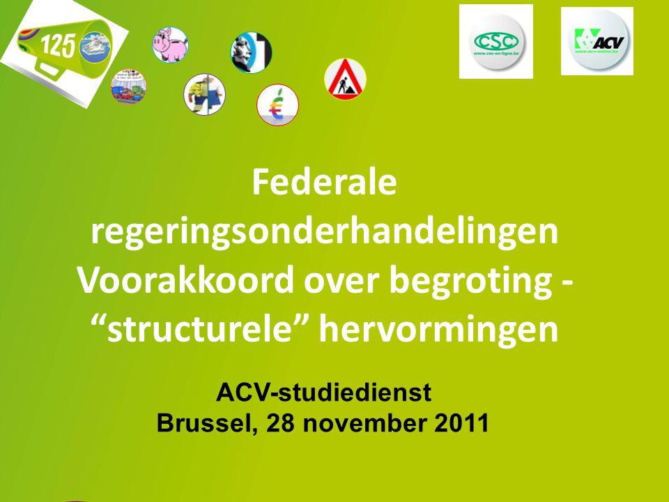"""1 Federale regeringsonderhandelingen Voorakkoord over begroting - """"structurele"""" hervormingen ACV-studiedienst Brussel, 28 november 2011"""