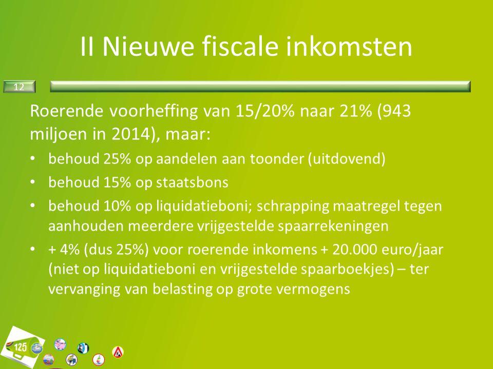 12 II Nieuwe fiscale inkomsten Roerende voorheffing van 15/20% naar 21% (943 miljoen in 2014), maar: behoud 25% op aandelen aan toonder (uitdovend) be