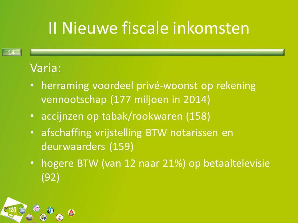 14 II Nieuwe fiscale inkomsten Varia: herraming voordeel privé-woonst op rekening vennootschap (177 miljoen in 2014) accijnzen op tabak/rookwaren (158