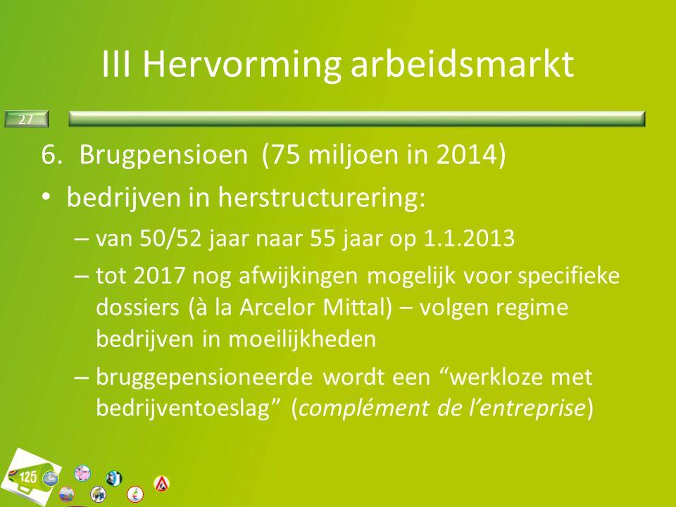 27 6.Brugpensioen (75 miljoen in 2014) bedrijven in herstructurering: – van 50/52 jaar naar 55 jaar op 1.1.2013 – tot 2017 nog afwijkingen mogelijk vo