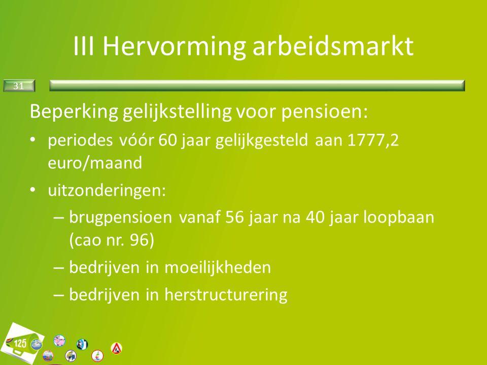31 Beperking gelijkstelling voor pensioen: periodes vóór 60 jaar gelijkgesteld aan 1777,2 euro/maand uitzonderingen: – brugpensioen vanaf 56 jaar na 4