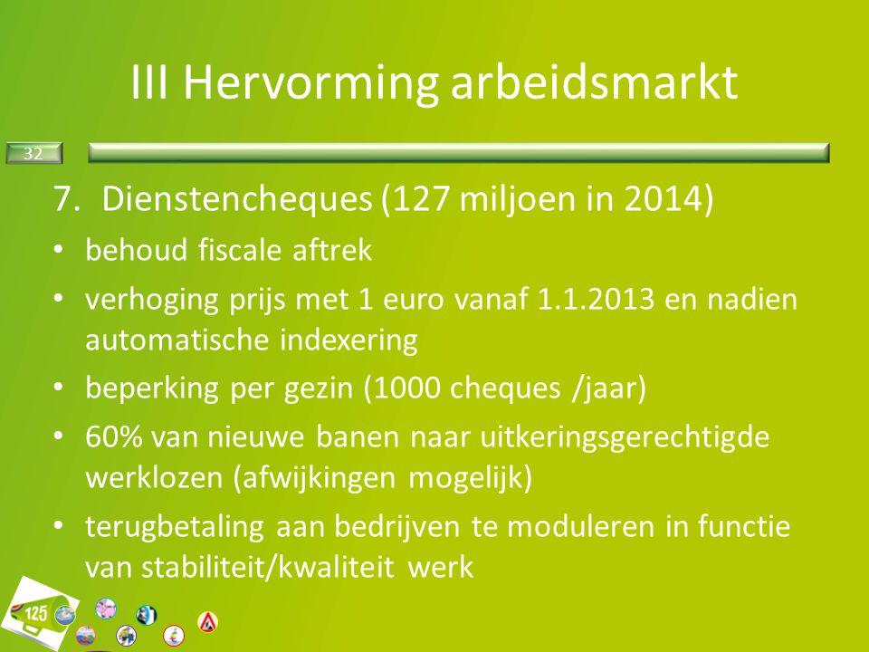32 7.Dienstencheques (127 miljoen in 2014) behoud fiscale aftrek verhoging prijs met 1 euro vanaf 1.1.2013 en nadien automatische indexering beperking