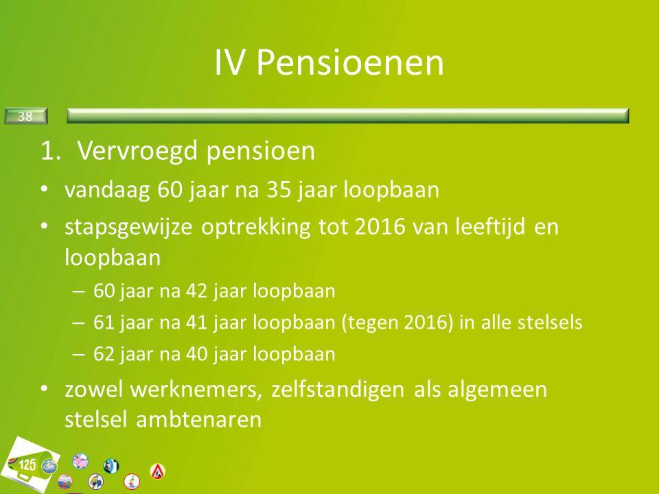 38 1.Vervroegd pensioen vandaag 60 jaar na 35 jaar loopbaan stapsgewijze optrekking tot 2016 van leeftijd en loopbaan – 60 jaar na 42 jaar loopbaan –