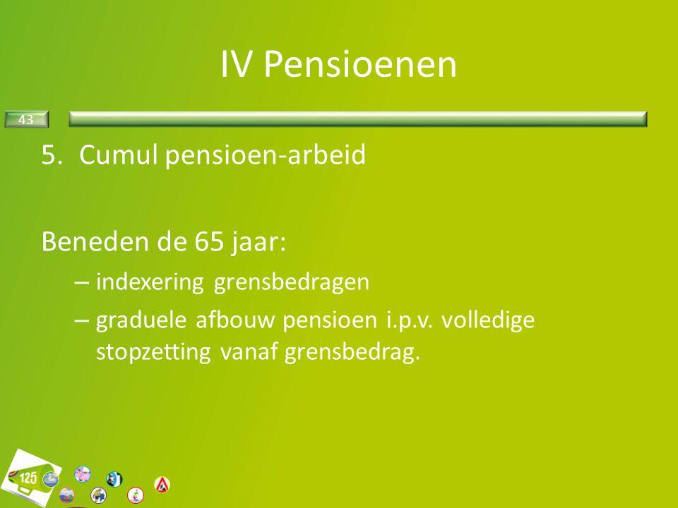 43 5.Cumul pensioen-arbeid Beneden de 65 jaar: – indexering grensbedragen – graduele afbouw pensioen i.p.v. volledige stopzetting vanaf grensbedrag. I