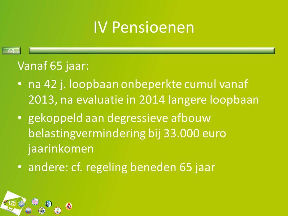 44 Vanaf 65 jaar: na 42 j. loopbaan onbeperkte cumul vanaf 2013, na evaluatie in 2014 langere loopbaan gekoppeld aan degressieve afbouw belastingvermi