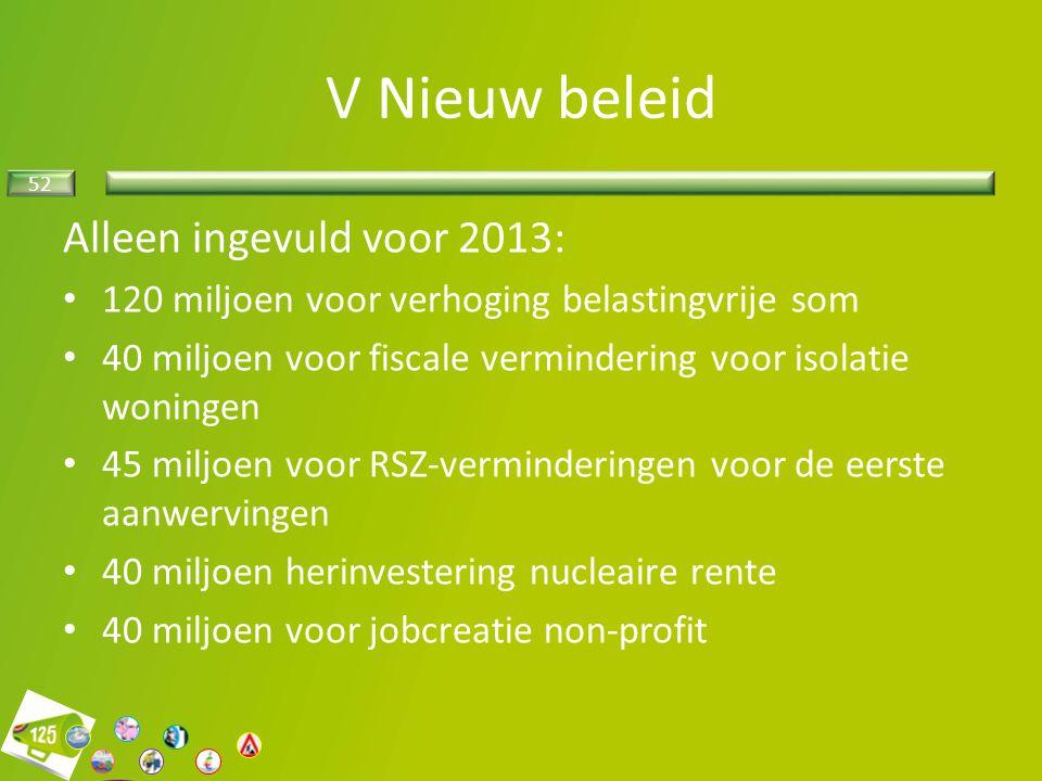 52 V Nieuw beleid Alleen ingevuld voor 2013: 120 miljoen voor verhoging belastingvrije som 40 miljoen voor fiscale vermindering voor isolatie woningen