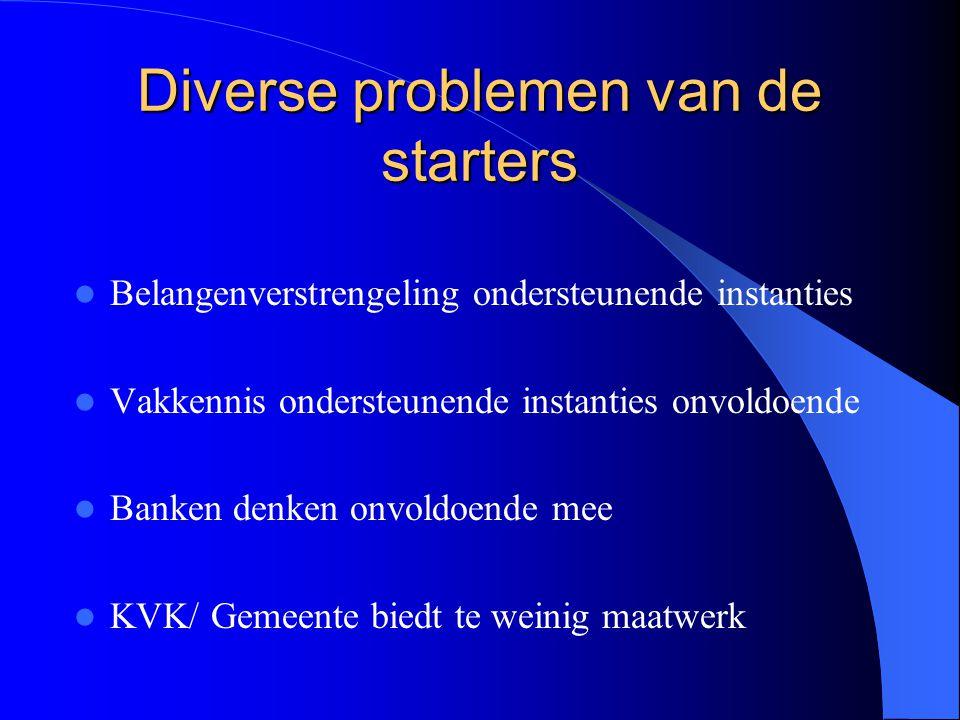 Diverse problemen van de starters Belangenverstrengeling ondersteunende instanties Vakkennis ondersteunende instanties onvoldoende Banken denken onvoldoende mee KVK/ Gemeente biedt te weinig maatwerk