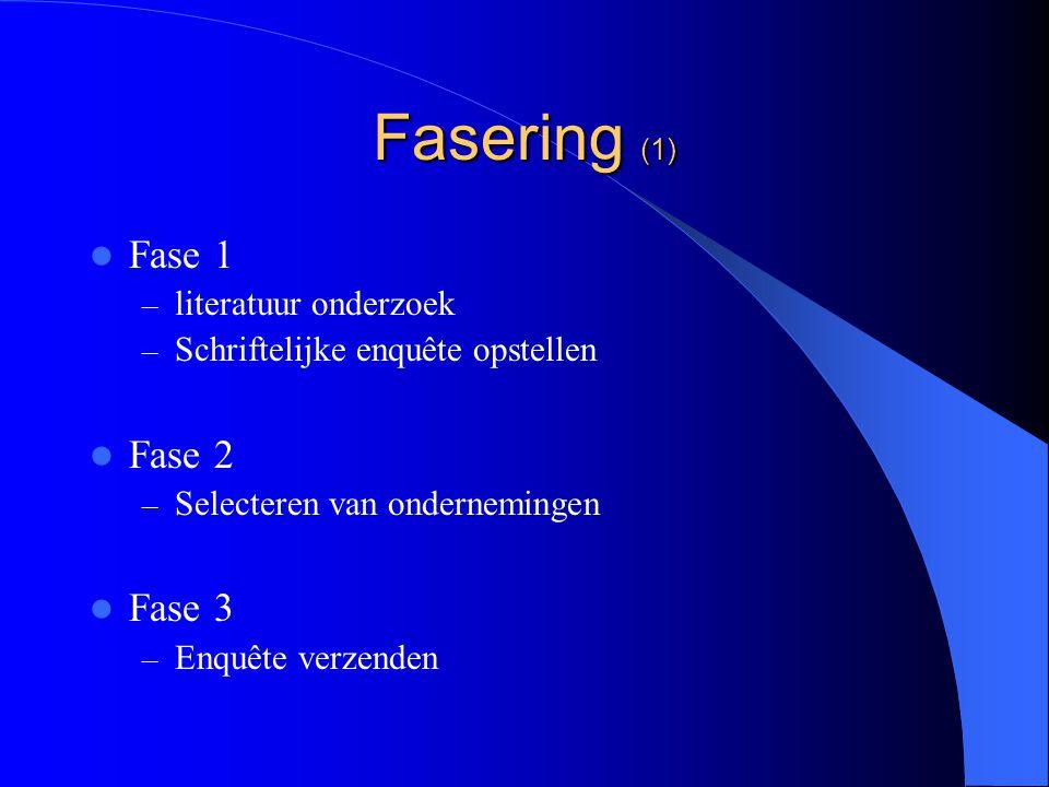 Fasering (1) Fase 1 – literatuur onderzoek – Schriftelijke enquête opstellen Fase 2 – Selecteren van ondernemingen Fase 3 – Enquête verzenden