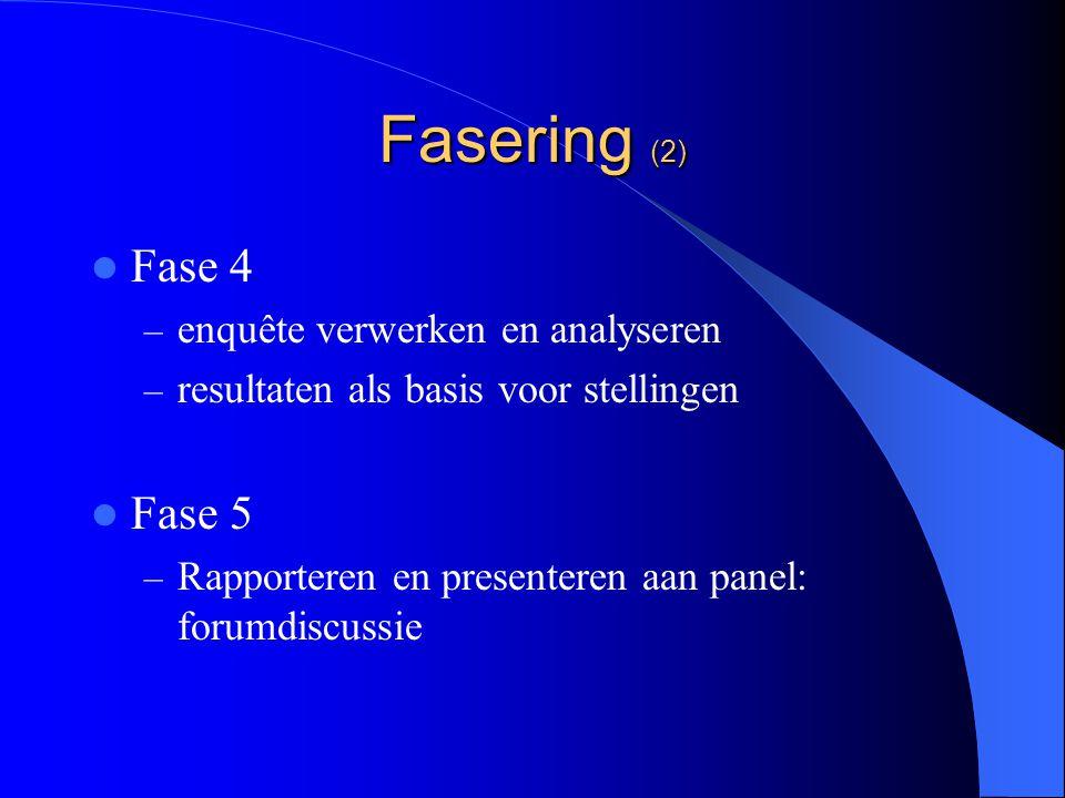 Fasering (2) Fase 4 – enquête verwerken en analyseren – resultaten als basis voor stellingen Fase 5 – Rapporteren en presenteren aan panel: forumdiscussie