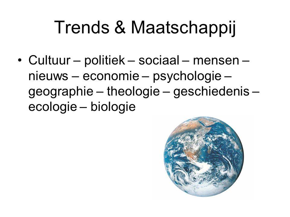 Trends & Maatschappij Cultuur – politiek – sociaal – mensen – nieuws – economie – psychologie – geographie – theologie – geschiedenis – ecologie – biologie