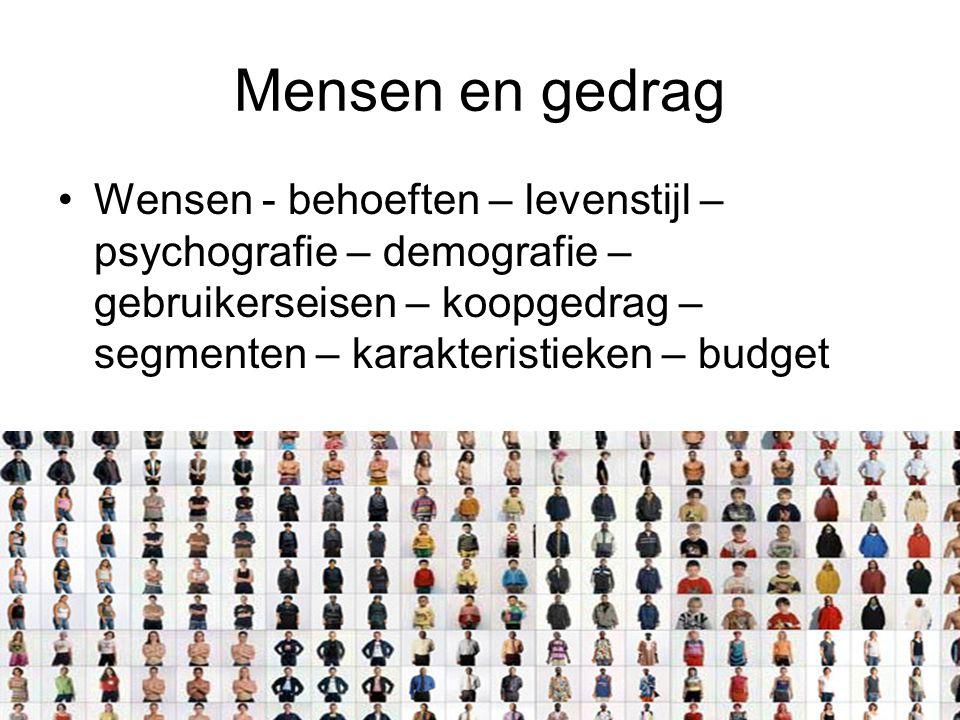 Mensen en gedrag Wensen - behoeften – levenstijl – psychografie – demografie – gebruikerseisen – koopgedrag – segmenten – karakteristieken – budget