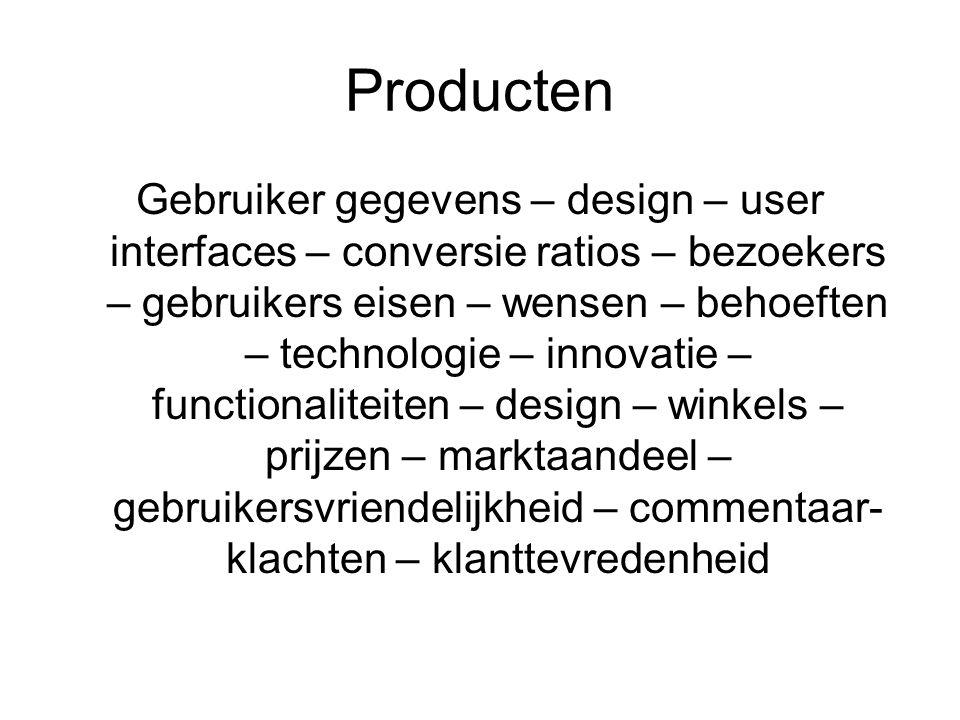 Producten Gebruiker gegevens – design – user interfaces – conversie ratios – bezoekers – gebruikers eisen – wensen – behoeften – technologie – innovatie – functionaliteiten – design – winkels – prijzen – marktaandeel – gebruikersvriendelijkheid – commentaar- klachten – klanttevredenheid