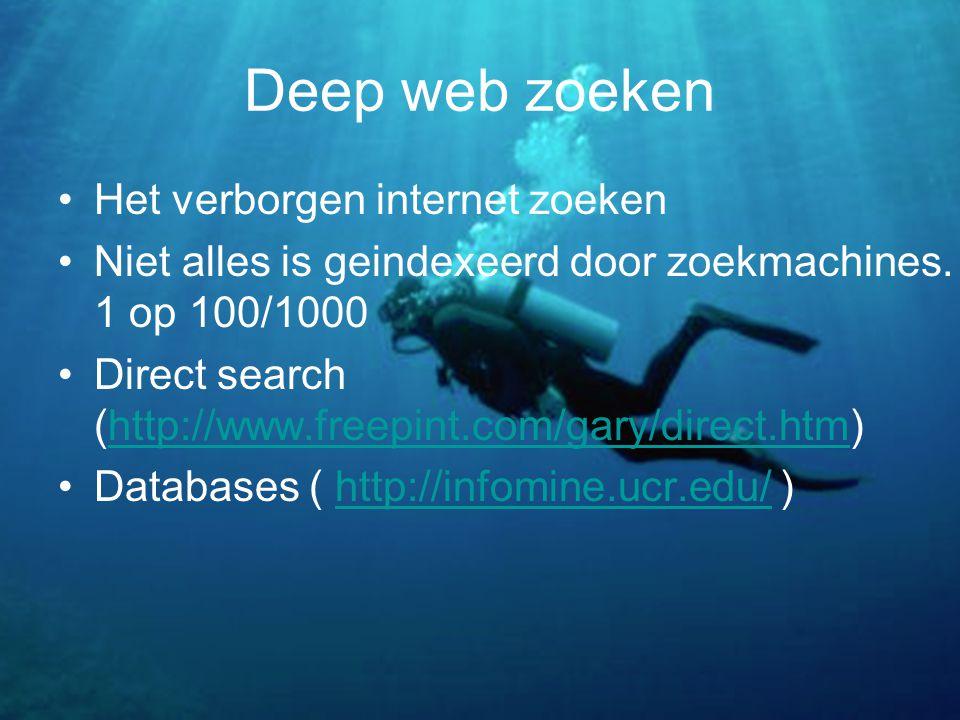 Deep web zoeken Het verborgen internet zoeken Niet alles is geindexeerd door zoekmachines.