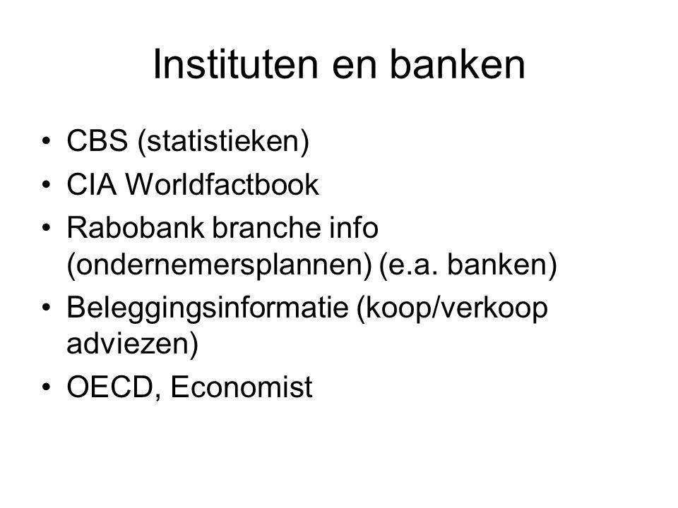 Instituten en banken CBS (statistieken) CIA Worldfactbook Rabobank branche info (ondernemersplannen) (e.a.