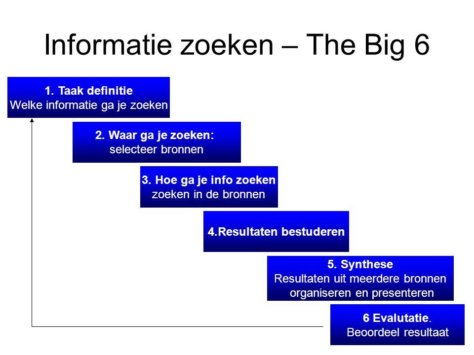 Informatie zoeken – The Big 6 1. Taak definitie Welke informatie ga je zoeken 2.