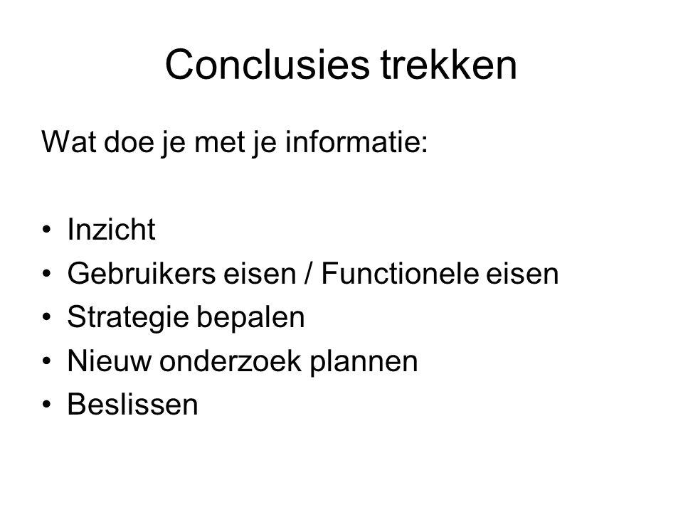 Conclusies trekken Wat doe je met je informatie: Inzicht Gebruikers eisen / Functionele eisen Strategie bepalen Nieuw onderzoek plannen Beslissen
