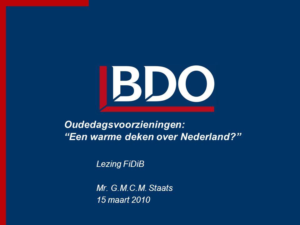 Oudedagsvoorzieningen: Een warme deken over Nederland? Lezing FiDiB Mr.