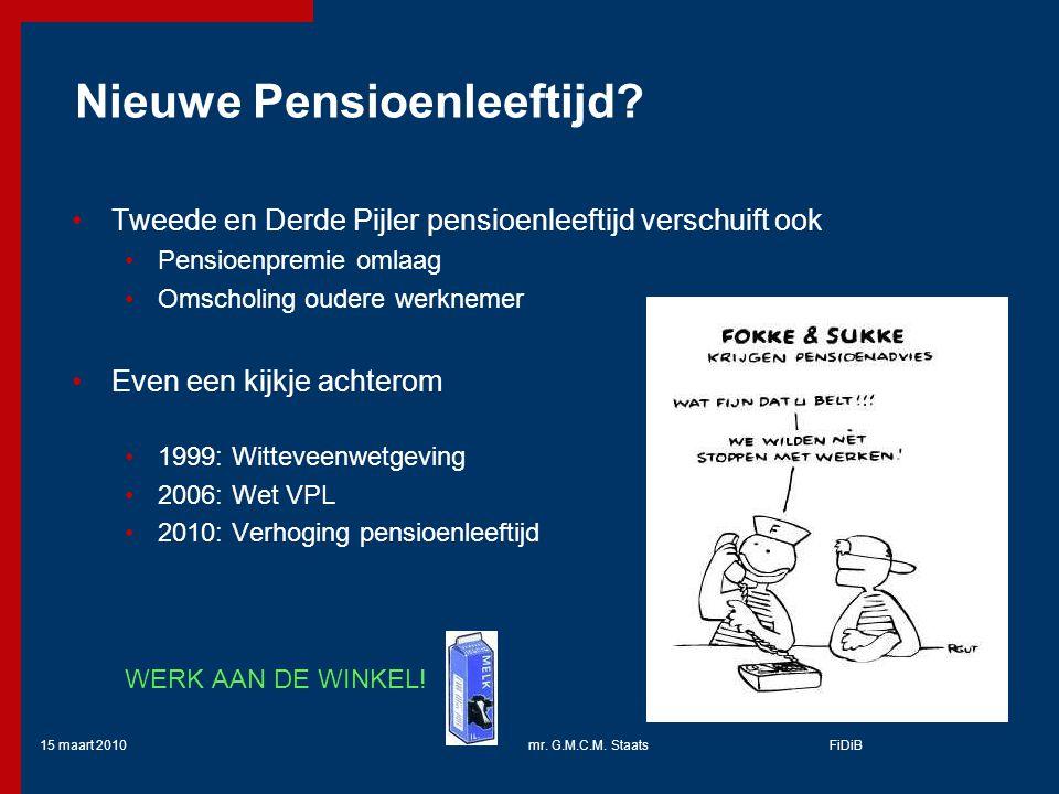 15 maart 2010mr.G.M.C.M. StaatsFiDiB Nieuwe Pensioenleeftijd.