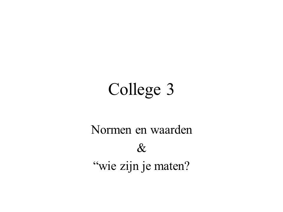 """College 3 Normen en waarden & """"wie zijn je maten?"""