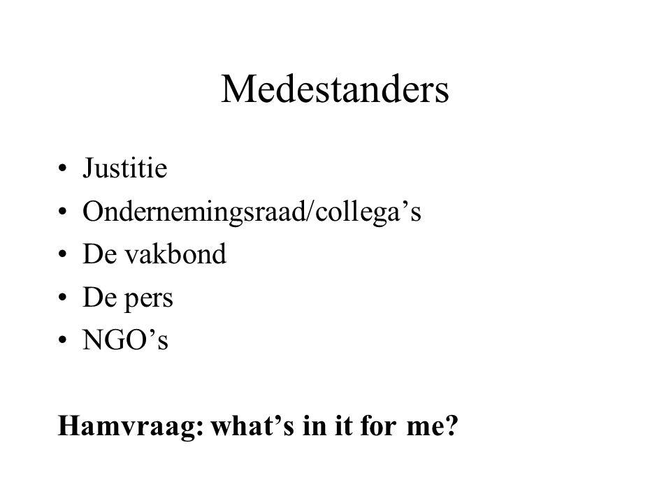 Medestanders Justitie Ondernemingsraad/collega's De vakbond De pers NGO's Hamvraag: what's in it for me?