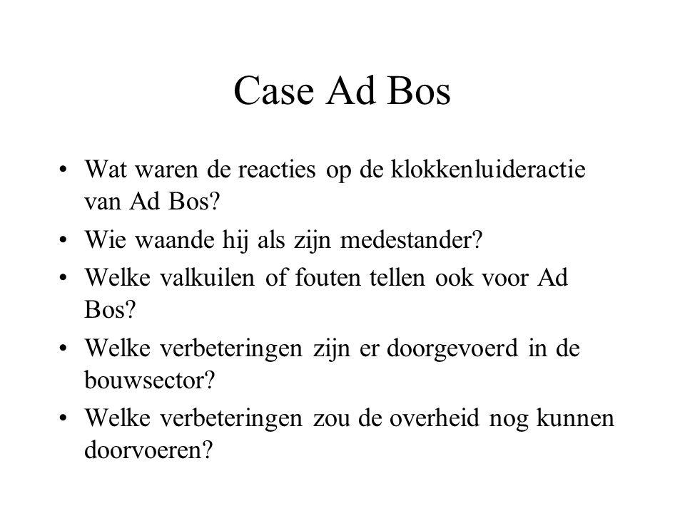 Case Ad Bos Wat waren de reacties op de klokkenluideractie van Ad Bos? Wie waande hij als zijn medestander? Welke valkuilen of fouten tellen ook voor