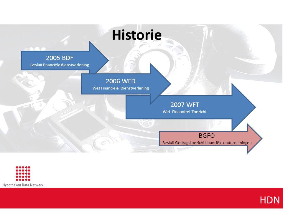 Agenda punt 1 HDN Historie 2005 BDF Besluit financiële dienstverlening 2007 WFT Wet Financieel Toezicht 2006 WFD Wet Financiele Dienstverlening BGFO B