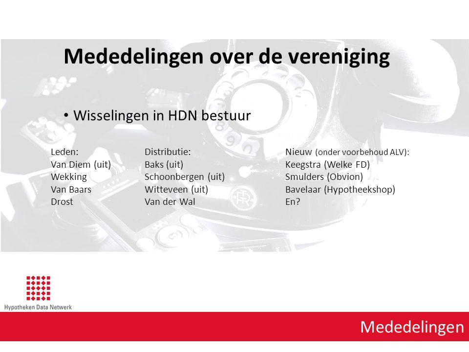 Mededelingen Mededelingen over de vereniging Wisselingen in HDN bestuur Leden:Distributie:Nieuw (onder voorbehoud ALV): Van Diem (uit)Baks (uit) Keegs