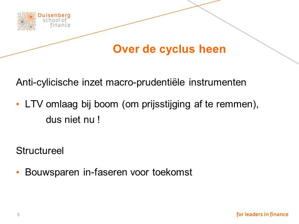 8 Over de cyclus heen Anti-cylicische inzet macro-prudentiële instrumenten LTV omlaag bij boom (om prijsstijging af te remmen), dus niet nu .