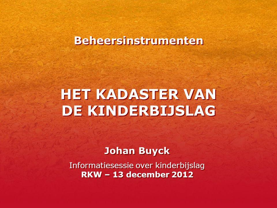Beheersinstrumenten HET KADASTER VAN DE KINDERBIJSLAG Johan Buyck Informatiesessie over kinderbijslag RKW – 13 december 2012 Johan Buyck Informatieses