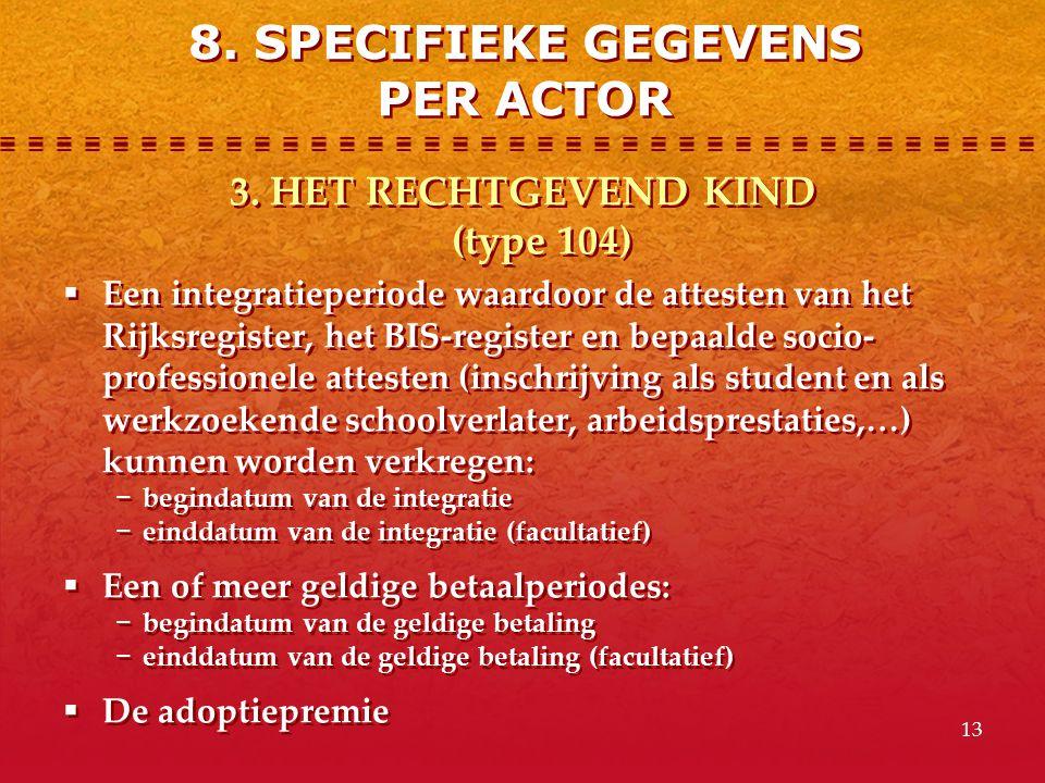 13 3. HET RECHTGEVEND KIND (type 104)  Een integratieperiode waardoor de attesten van het Rijksregister, het BIS-register en bepaalde socio- professi