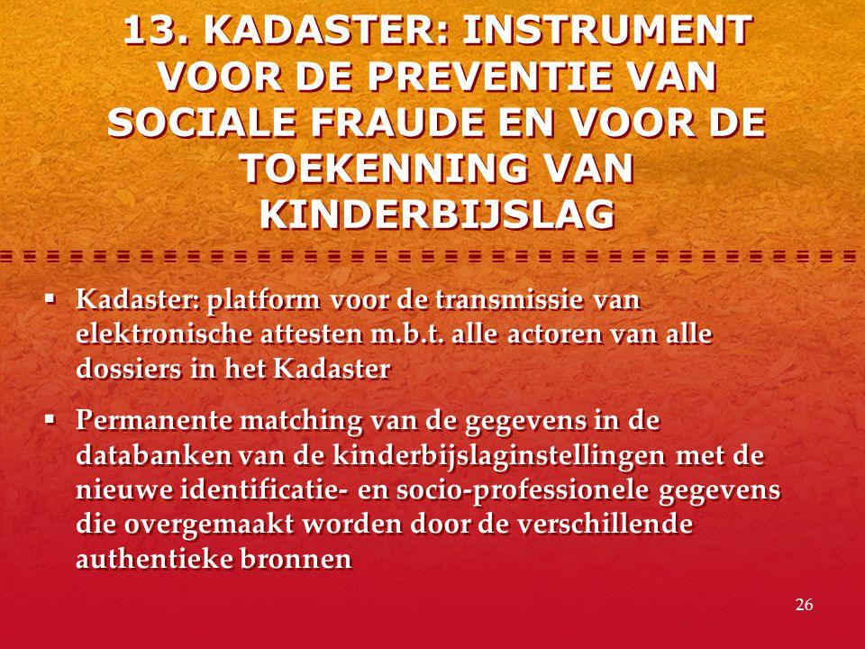 26  Kadaster: platform voor de transmissie van elektronische attesten m.b.t. alle actoren van alle dossiers in het Kadaster  Permanente matching van