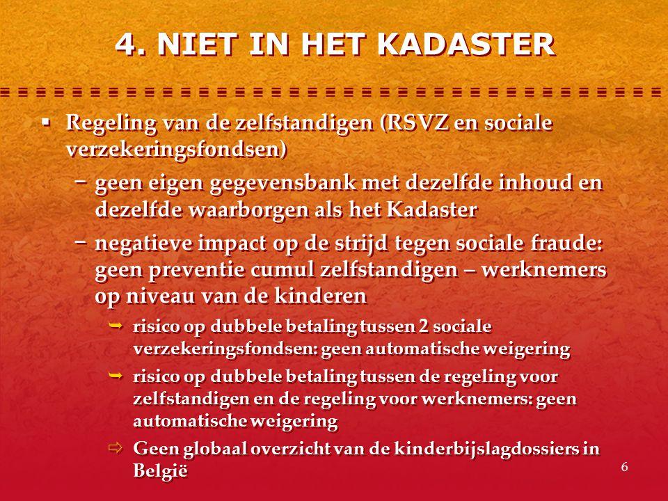 6  Regeling van de zelfstandigen (RSVZ en sociale verzekeringsfondsen) − geen eigen gegevensbank met dezelfde inhoud en dezelfde waarborgen als het K