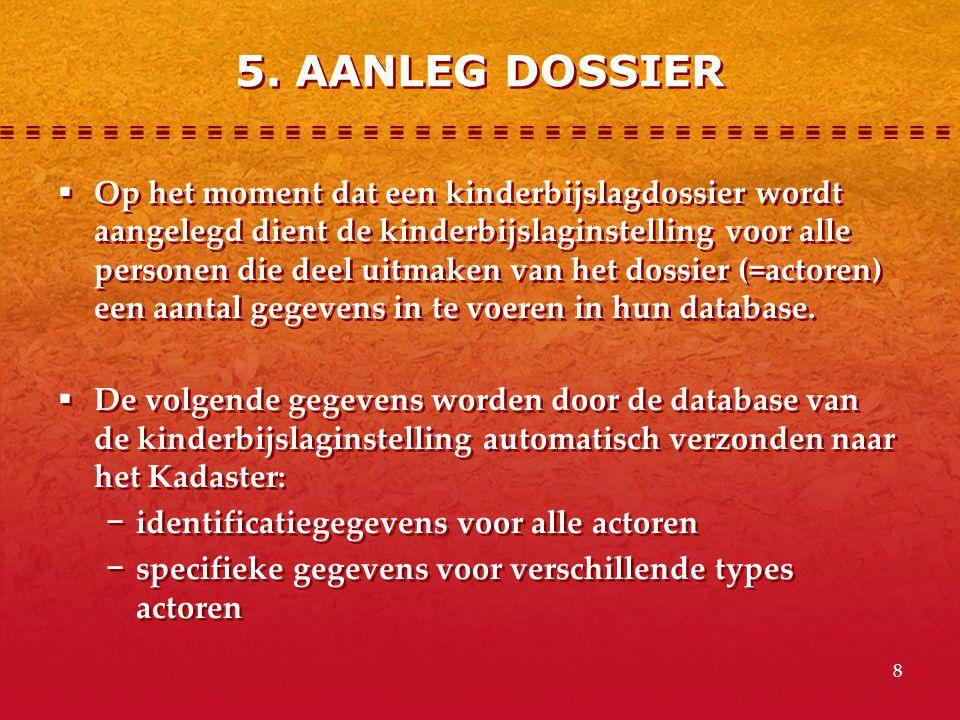 8 5. AANLEG DOSSIER  Op het moment dat een kinderbijslagdossier wordt aangelegd dient de kinderbijslaginstelling voor alle personen die deel uitmaken